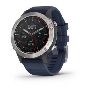 Uhr Garmin quatix 6, Regattauhr Grau mit mittelblauem Armband