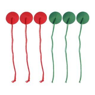 Windbändsel-Set (3 rot, 3 grün) Telltales, Teflon beschichtet, Rooster